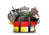 Germany, german landmarks, travel and retro suitcase - 145707441