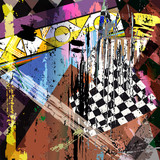 abstract background composition, illustration with strokes and splashes
