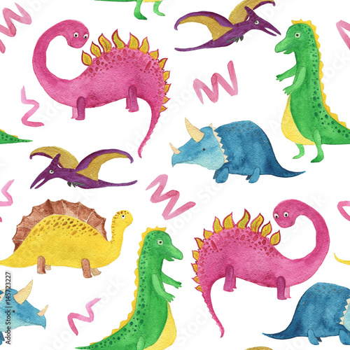 Watercolor painting seamless pattern with cute dinosaurs - 145723227