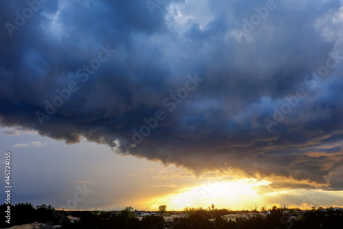 Background of the sky with clouds at sunset