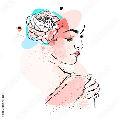 Hand drawn vector abstract textured collage illustration with female bridal figure with flowers in head in pastel colors isolated on white background.wedding,birthday.save the date,invitation,flayer. - 145725841