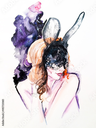 Watercolor fashionable sketch. The girl in the mask - 145733060
