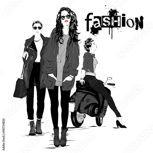 In de dag Art Studio Fashion girl in sketch-style.