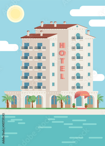 Vector hotel building and sea illustration in flat design. Global colors used.