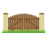 Fence with brick pillars and wood gate