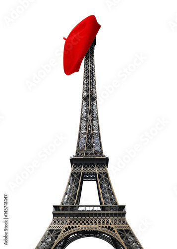Paris landmarks, Eiffel tower with red beret