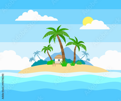 Papiers peints Piscine tropical island in the ocean with palm trees and bungalow flat style illustration