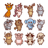 Cartoon Animals Set - 145765851