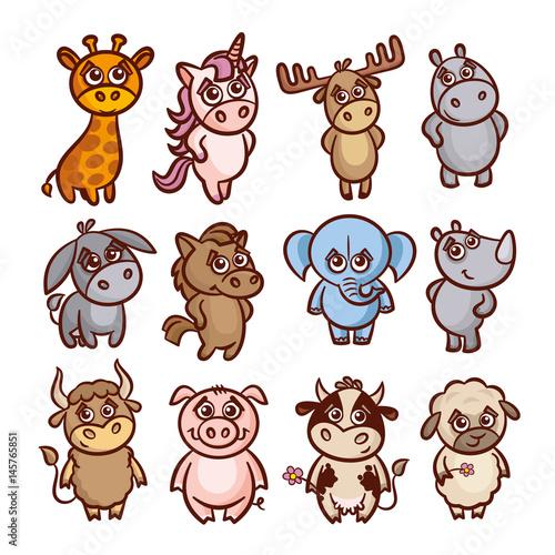 Naklejka Cartoon zwierząt zestaw