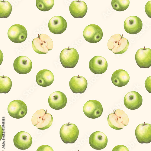 Hand-drawn watercolor seamless pattern with green apples on the white background. Repeated background. - 145769838