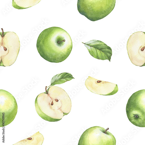 Hand drawn seamless pattern with watercolor green apples. Apples and leaves on the white background. - 145769865