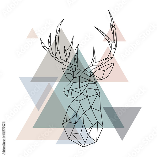 Fototapeta  Geometric reindeer illustration