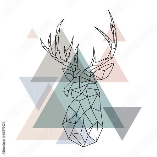 Canvas Hipster Hert Geometric reindeer illustration
