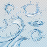 Set vector illustrations water splashes and flows, streams of various shapes. Design elements - 145784207