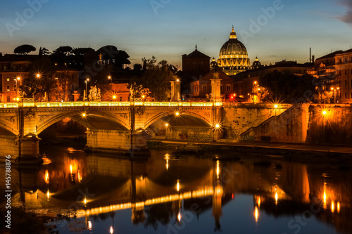 Night view on Tiber river and Saint Peter's Basilica in Vatican, Rome, Italy Poster