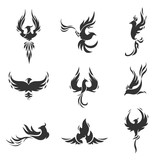 Phoenix bird stylized silhouettes icons on white background