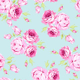Seamless floral pattern with pink roses - 145794888