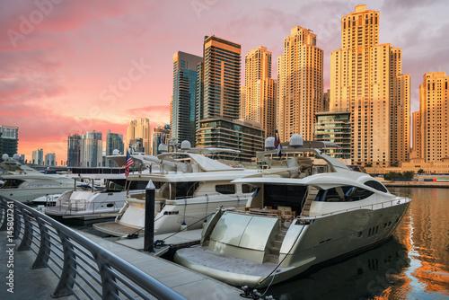 Beautiful sunset over Dubai Marina Poster