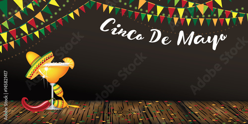 Cinco De Mayo banner design for celebration of the Mexican holiday on the fifth (Cinco) of May (Mayo). EPS 10 vector.