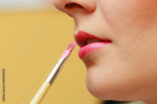 Juliste Close up woman getting make up, lips