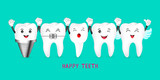 Happy cute cartoon tooth characters. Dental care concept. Illustratiion - 145847857