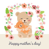 Happy mothers day - mama bear illustration with flowers - cute vector art