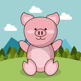 cute piglet adorable landscape natural vector illustration
