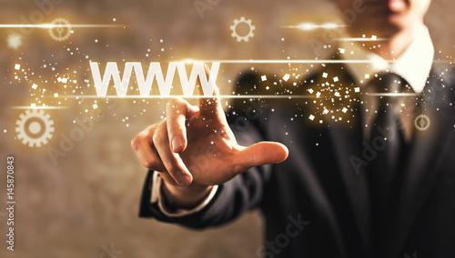 WWW text with businessman