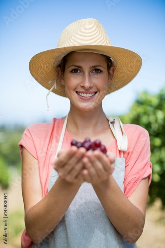 Portrait of smiling farmer holding red grapes