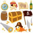 Постер, плакат: Vector collection of pirate themed illustrations: Treasure chest pirate skull fish a pirate flag a compass spyglass a barrel bottle and pirate swords