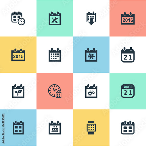 Vector Illustration Set Of Simple Calendar Icons Elements Event Almanac Plant And Other