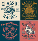 Vintage motorcycle racing prints for boy t shirt