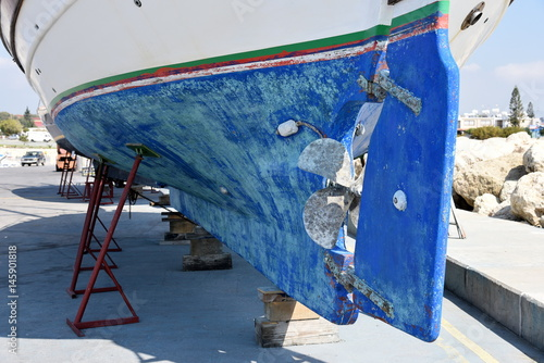 Fotobehang Cyprus Cyprus fishing boat on the dock for maintenance
