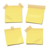 Set of yellow blank vector post-it notes with paper tape isolated on white background - 145909269