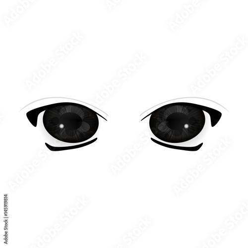 Anime Eyes. Human eyes closeup. Beautiful big cartoon eyes. Vector illustration - 145919814