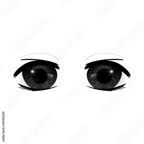 Anime Eyes. Human eyes closeup. Beautiful big cartoon eyes. Vector illustration - 145922029