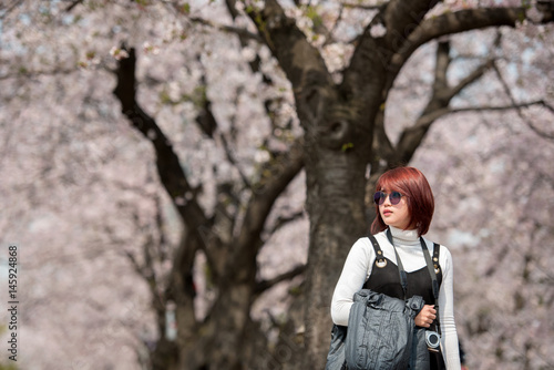 Poster Asia Woman Travel likes a tourism in Osaka , japan with Sakura Cherry Blossom sp