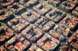 typical buildings of Barcelona cityscape from helicopter. Catalonia