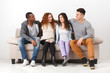 Party with friends, young people sitting on couch