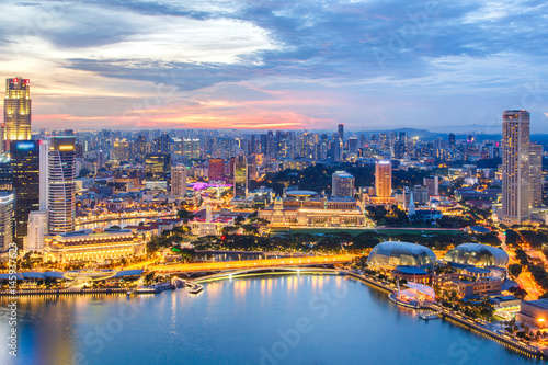 Foto op Canvas Landscape of the Singapore financial district and business building, Singapore City