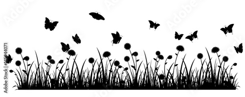 Butterfly meadow banner black silhouette  - 145944071