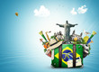 Quadro Brazil, Brazil landmarks, travel and retro suitcase