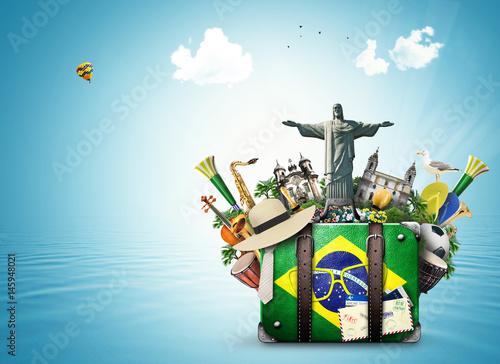 Papiers peints Rio de Janeiro Brazil, Brazil landmarks, travel and retro suitcase