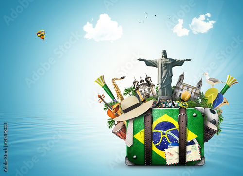 Poster Brazil, Brazil landmarks, travel and retro suitcase