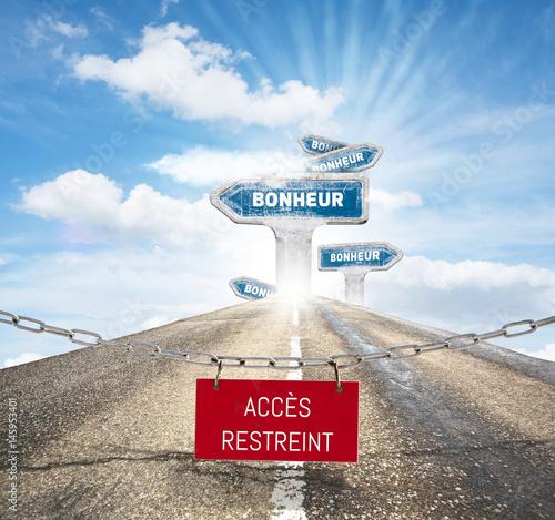 bonheur accès réservé joie plaisir retrouver chercher sentiment chemin route sér Poster