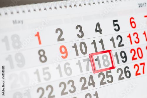 Calendar 17 May close-up, shallow dof Poster