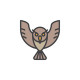 Owl filled outline icon, line vector sign, linear colorful pictogram. Symbol, logo illustration. Pixel perfect