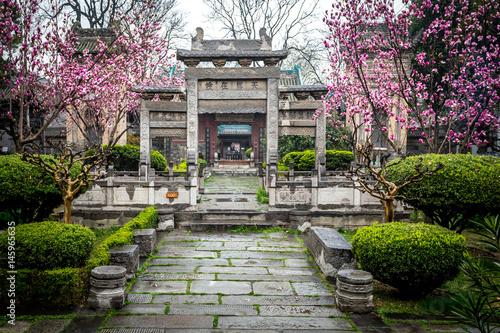 des magnolias en fleurs dans l'allée d'un parc avec un monument chinois au centr Poster