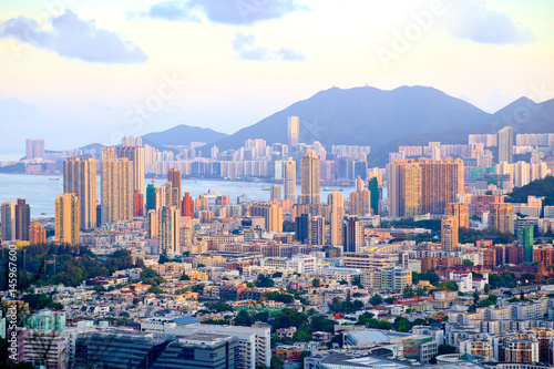 Golden color with sunset over the city, Hong Kong