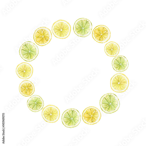 Watercolor round frames made from citrus fruits slices: lime, lemon. isolated on white. - 145969070